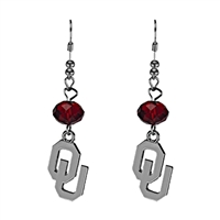 Silver Beaded Drop Earrings Oklahoma Sooners