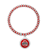 College Fashion Crystal Ohio State University Logo Charm Bicks Bracelet