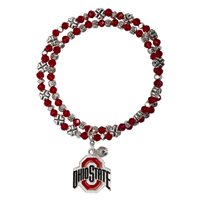College Fashion Crystal Ohio State University Logo Charm Double Layered Stretch Bryton Bracelet