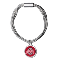College Fashion Ohio State University Logo Charm Multi-Layered Snake Chain Pop Clasp Burma Bracelet