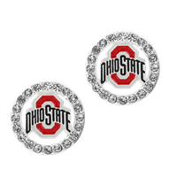 College Fashion Crystal Ohio State University Logo Charm Stud Eugenia Earrings