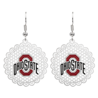 College Fashion Filigree Cut Ohio State University Logo Charm Post Dangle Els Earrings