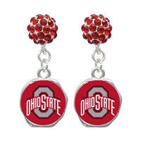 College Fashion Crystal Ohio State University Logo Charm Stud Dangle Evy Earrings