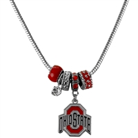College Fashion Crystal Ohio State University Logo Charms Natalya Necklace