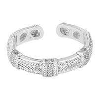Stylish Silver Fashion Forward Open Cuff Bangle