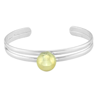 Stylish Two-Tone Fashion Forward Golden Ball Cuff Bangle