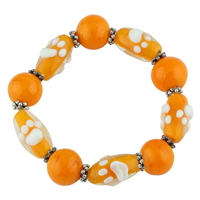 Orange Citrusy Acrylic Glass Beads Raised Painted White Paw Prints Silver Stretch Bracelet