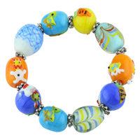 Bright & Colorful Acrylic Glass Beads Raised Painted Animal Characters Silver Stretch Bracelet