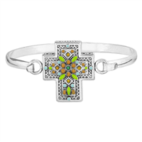 Spiritual, Stylish & Colorful Crystal Stone Silver & Black Cross Charm Bracelet