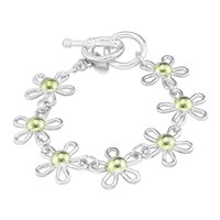 Flourishing Two-Tone linked Flower Toggle Clasp Bracelet