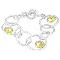 Stylish Two-Tone Circle Double Link Toggle Clasp Bracelet