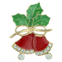 THE CRYSTAL JINGLE BELLS PIN BROOCH