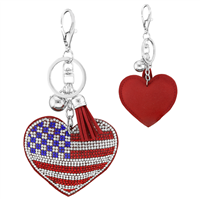 Red, Clear & Blue Crystal Tassel Charm Red Stitched American Heart Soft Plush Key Chain
