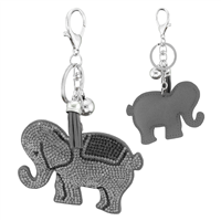 Gray & Black Crystal Tassel Charm Dark Gray Stitched Elephant Soft Plush Silver Toned Key Chain