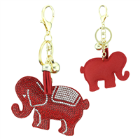 Red & Clear Crystal Tassel Charm Red Stitched Elephant Soft Plush Gold Toned Key Chain