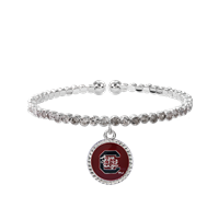 College Fashion Crystal University of South Carolina Logo Charm Cuff Breeze Bangle