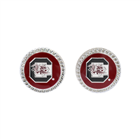 College Fashion South Carolina University Logo Charm Stud Eudi Earrings