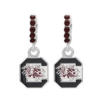 College Fashion Crystal University of South Carolina Logo Charm Cuff Hoop Dangle Electra Earrings