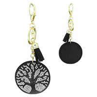 Clear & Black Crystal Tassel Charm Black Stitched Tree of Life Soft Plush Gold Toned Key Chain