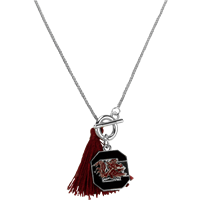 College Fashion University of South Carolina Logo Charm Tassel Norma Necklace Lobster Clasp