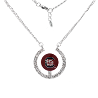University of South Carolina Logo Team Colored Round Charm Stunning Crystals Silver Necklace