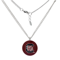 University of South Carolina Logo Team Colored Round Charm Silver Necklace