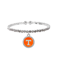 College Fashion Crystal University of Tennessee Logo Charm Cuff Breeze Bangle