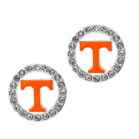 College Fashion Crystal University of Tennessee Logo Charm Stud Eugenia Earrings