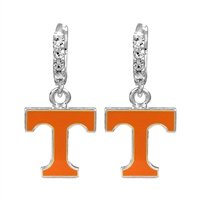 College Fashion Crystal University of Tennessee Logo Charm Cuff Hoop Dangle Electra Earrings