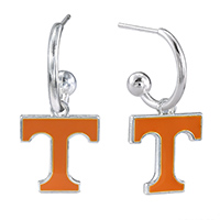 Dangle Logo Earrings Silver College University Tennessee TN Vols