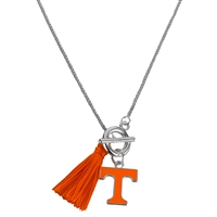 College Fashion University of Tennessee Logo Charm Tassel Norma Necklace Lobster Clasp