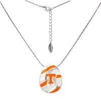 TENNESSEE 698 | Striped Oval Logo Pendant Necklace