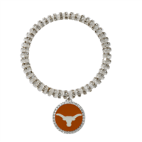 Crystal University of Texas Longhorns Team Colored Round Charm Logo Silver Bracelet