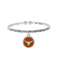 College Fashion Crystal University of Texas Logo Charm Cuff Breeze Bangle
