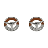 Two-Tone Circular Logo Studs Silver Earrings Texas Longhorn Bevo College Jewelry