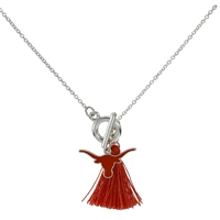 College Fashion University of Texas Logo Charm Tassel Norma Necklace Lobster Clasp