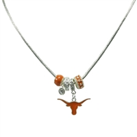 College Fashion Crystal University of Texas Logo Charms Natalya Necklace