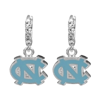 College Fashion Crystal University of North Carolina Logo Charm Cuff Hoop Dangle Electra Earrings