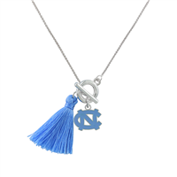 College Fashion University of North Carolina Logo Charm Tassel Norma Necklace Lobster Clasp