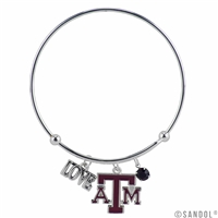 College Fashion Crystal Texas A&M University Logo Charm Tassel Beth Push Bangle Bracelet