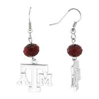 Silver Beaded Drop Earrings Texas A&M Aggies