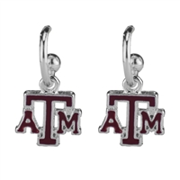 Dangle Logo Earrings Silver College Station University Texas A&M