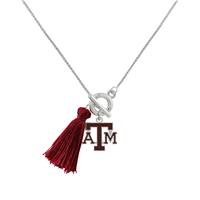 College Fashion Texas A&M University Logo Charm Tassel Norma Necklace Lobster Clasp