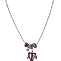 Silver Beaded Charm Necklace Texas A&M Aggies
