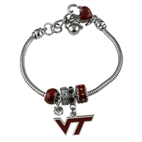 College Fashion Crystal ​Virginia Tech University Logo Charms Betsy Bracelet