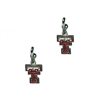 Dangle Logo Earrings Silver College Texas Tech