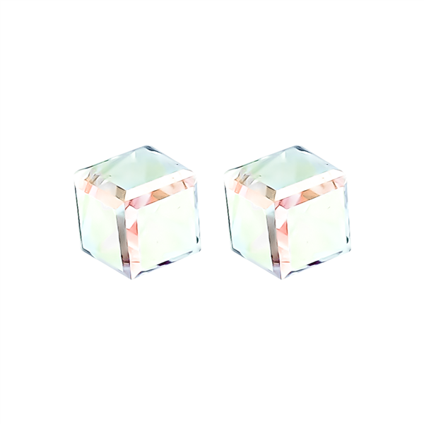 "1/4"" Iridescent Cube Stud Earrings"