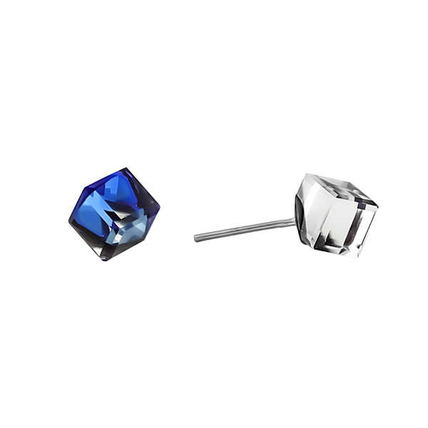 "1/4"" Cobalt Blue Iridescent Cube Stud Earrings"
