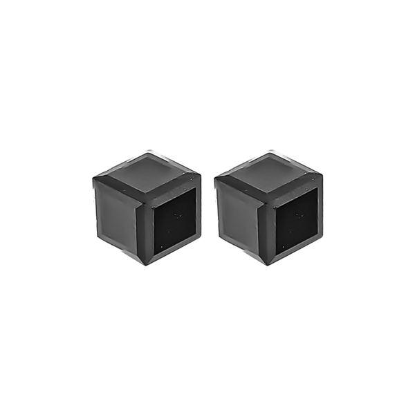 "1/4"" Black Cube Stud Earrings"