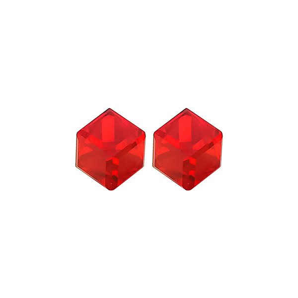 "1/4"" Red Cube Stud Earrings"